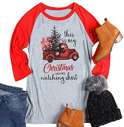 This is My Christmas Movie Watching Shirt Women Raglan 3/4 Sleeve Christmas Graphic Baseball Tee Shirts Top (XX-Large, Red)
