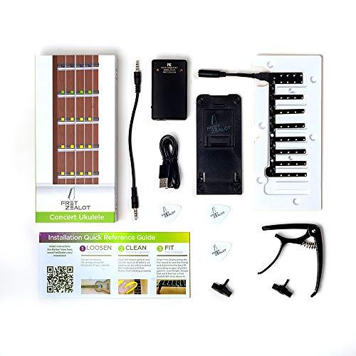 Fret Zealot LED-Gitarren-Lern-Zubehör, einfache und beste Methode, um eine Gitarre zu spielen für alle Ebenen, passend für alle Gitarren, iOS und Android App im Lieferumfang enthalten Concert Ukulele