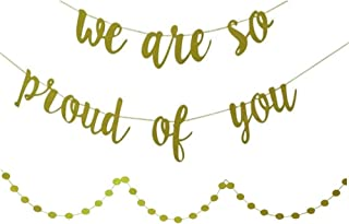 YOFEY1   Graduation Decorations,Graduation Party Supplies 2019,We are So Proud of You Banner, with Gold Glittery Circle Dots Garland, Congratulations Banner,Congrats Banner
