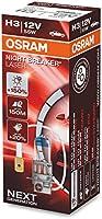 OSRAM NIGHT BREAKER LASER H3, +150% más de luz, lámpara halógena para faros, 64151NL, coche de 12 V, caja plegable (1...