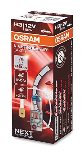 OSRAM NIGHT BREAKER LASER H3, +150% mehr Helligkeit, Halogen-Scheinwerferlampe, 64151NL, 12V PKW, Faltschachtel (1 Lampe)