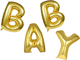 Lovne 16 Inch Gold Helium Foil Balloons, Baby Letter Balloon for Wedding Birthday Party