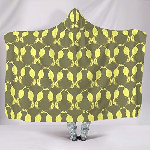 Fineiwillgo Planta patrón de azulejos con capucha, manta supersuave y cálida para niños, manta de felpa, para sofá o sillón, color blanco, 130 x 150 cm