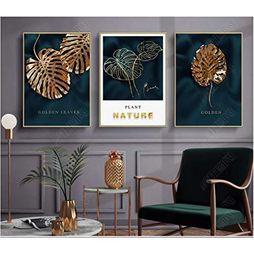 Goldblatt Moderne minimalistische Pflanze Gemälde Deko Bild Modulares Wandkunst Malerei auf Leinwand für Wohnzimmer ohne Rahmen