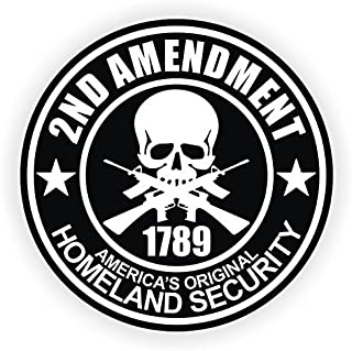 """StickerDad (6 PACK) 2nd Amendment circle - size: 2"""" ROUND color: BLACK/WHITE - Full Color Printed Sticker for Hard Hat, He..."""