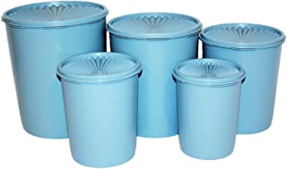 Tupperware Set of 5 Vintage Servalier Canisters Country Blue