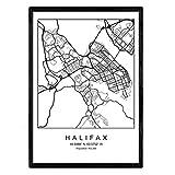 Nacnic Drucken Stadtplan Halifax skandinavischen Stil in schwarz und weiß. A3 Größe Plakatrahmen Das Bedruckte Papier Keine 250 gr. Gemälde, Drucke und Poster für Wohnzimmer und Schlafzimmer