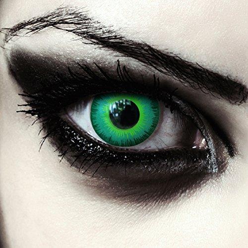 "Designlenses, Dos lentillas de color verde para Cosplay Halloween disfraces duende disfraz lentes sin dioprtías/corregir + gratis caso de lente ""Green Elfe"