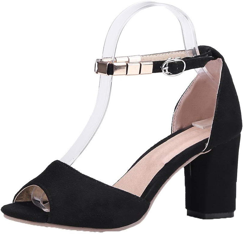 AmoonyFashion Women's Pu High-Heels Open-Toe Solid Buckle Sandals, BUTLT007739