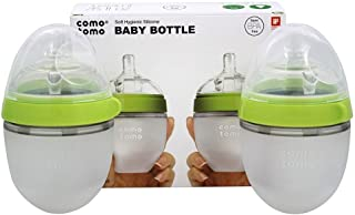 Comotomo - 软的卫生硅树脂乳瓶孪生组装0-3m绿色 - 5盎司