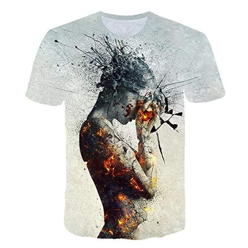 T-Shirts,Herren T-Shirt Lustig Kreativ Nude Girl 3D Print Kurzarm Rundhals Sommer Top Hellblau S