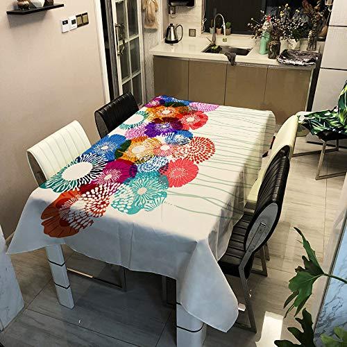 SHANGZHAI Tischdecke mit Polyester-Druck, wasserdicht und schmutzabweisend, rechteckige Tischdecke für Restaurants, Kaffeetischdecke, Blumenserie ZB2091-7 60x60cm