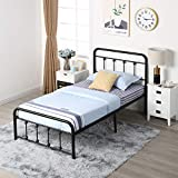 VECELO Vintage Metal Frame Platform with Headboard and Footboard,Heavy Duty Steel Support,Box Spring Replacement,Under Bed Storage,Twin Size Black