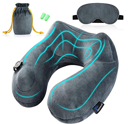 Jasonwell Almohada de Viaje Inflable Relajante Cuello Apoyo Travel Neck Pillow Inflatable para avion vuelos de larga distancia tren coche oficina con bolsa de transporte y antifaz para dormir