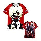 Jilijia Camiseta de manga corta con impresión 3D de anime Tokyo Ghoul Cosplay Kaneki Ken