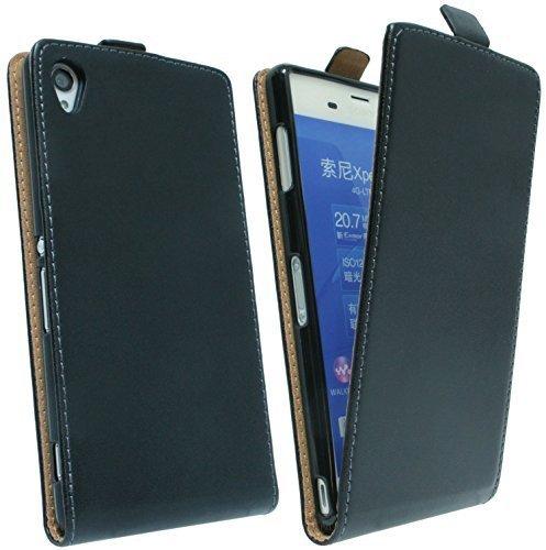ENERGMiX Klapptasche Schutztasche kompatibel mit Sony Xperia Z3 (D6603) in Schwarz Tasche Hülle