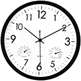 Foxtop Silent Wall Clock with Thermometer and Hygrometer Display Non-Ticking Mechanisms for Garden