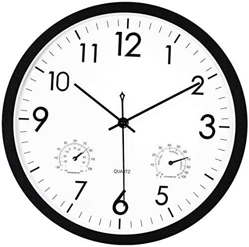 Foxtop Moderno Silencioso Reloj de Pared sin Tic TAC con Termómetro e Higrómetro, Mide Temperatura y Humedad, 30 cm Diámetro, Funciona con Pilas, Color Negro