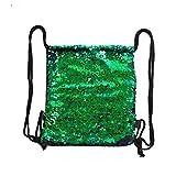 Xuxuou Canvas Sportbeutel Turnbeutel Pailletten Rucksack Segeltuch Bedruckt Sporttaschen Schultertasche mit verstellbaren Kordeln für Reisen Sport und Schule (Grün)