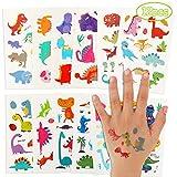 Herefun Tattoo Kinder, 12Pcs Glitzer Temporäre Tattoos Set, Dino Tattoos Kinder, Dinosaurier...
