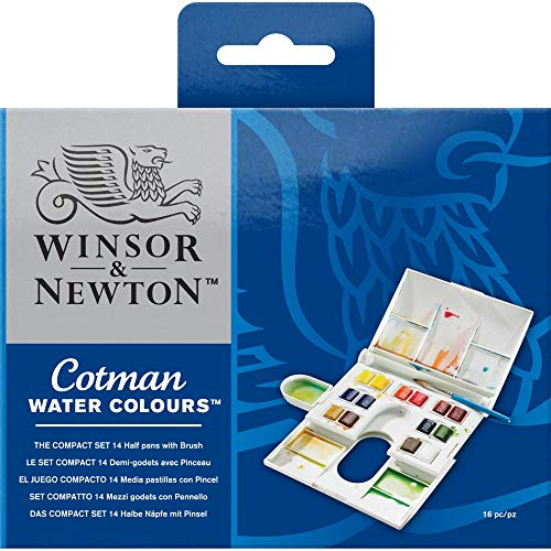 Winsor & Newton Cotman Water Colour Paint Compact Set, Set of 14, Half Pans
