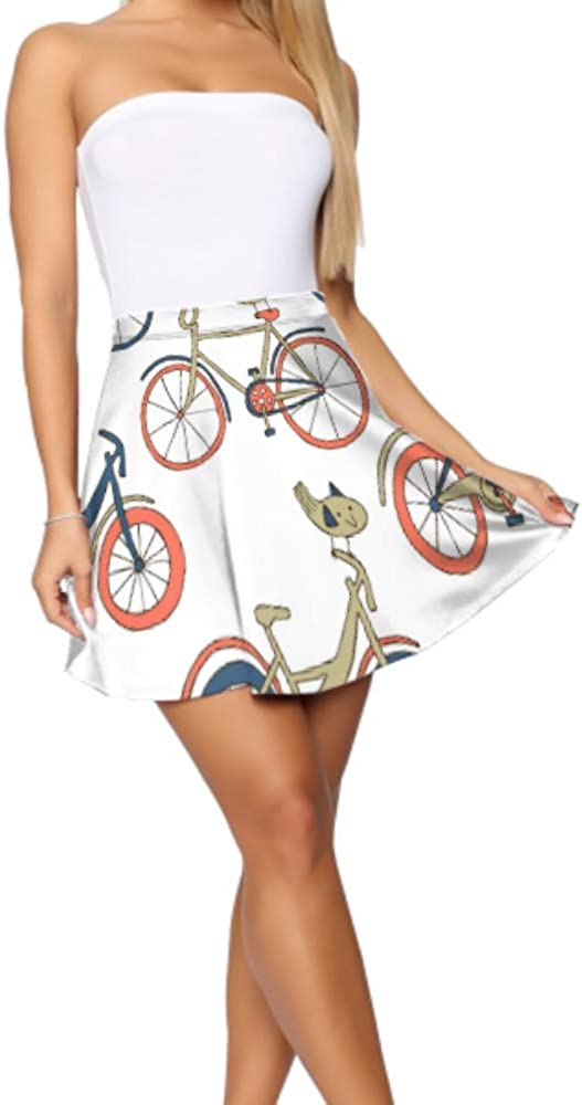 Mini Skirts for Women Bicycle Wheel Cycling Game Sport Girls Flare Skirt Women's Basic Casual Flared Skirts for Women S-XL