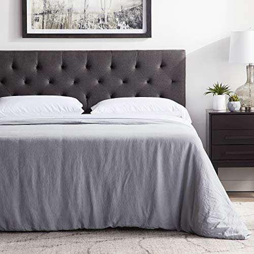 "LUCID Mid-Rise Upholstered Headboard - Adjustable Height from 34"" to 46"", King/Cal King, Charcoal"