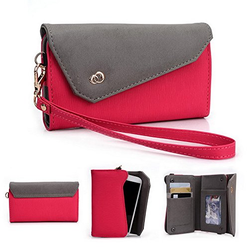 Kroo Pochette Link Serie Portefeuille pour HTC One Dual Sim Magenta and Grey