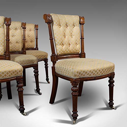 Juego de 4 sillas antiguas, escocés, nuez, suite, comedor, victoriano, circa 1890