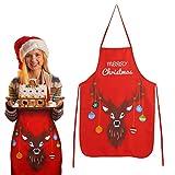 KATOOM Delantal de la decoración navideñas 1pcs Delantales de Navidad Rojo con diseño de Alces Restaurante Cocina cafetería Restaurante BBQ Adultos niños