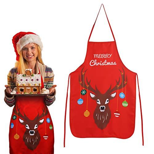 KATOOM Weihnachten Schürze Lustig Kochschürze Rot Rentier Küchenschürze Damen Latzschürze Apron Grillschürze Backschürze für Weihnachtensparty Heiligabend Chef Frauen Herren