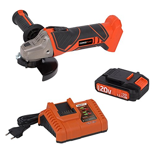 Preisvergleich Produktbild Dual Power Winkelschleifer + 20 V Li-Ion Akku + Ladegerät - Handschleifer Schleifmaschine 115 mm