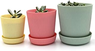 QIANZICAI Flower Pot With Tray, Resin Color Flower Pot, Round Environmentally Friendly Plastic Flower Pot 3 Sets, 9595mm Lightweight And Rugged Cold (Color : Light yellow, Size : M)