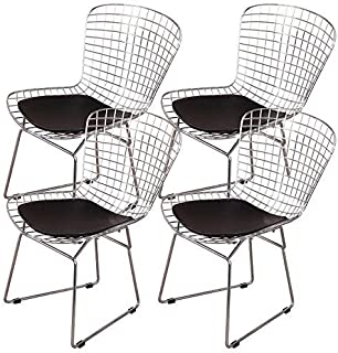 Shise Harry Bertoia Wire Side Chair (Set of 4). Chromed Wire Frame with Plastic Feet & PU Leather Cushion (Black 4 Set)