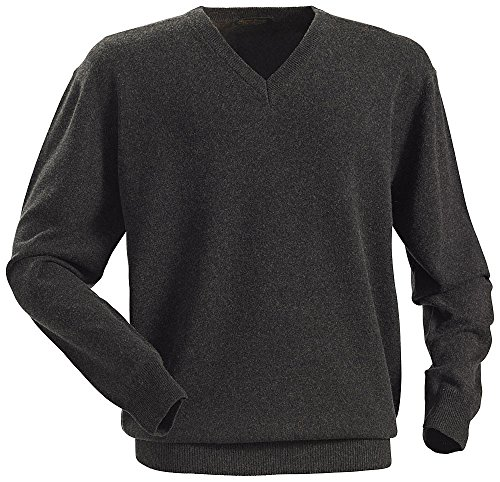 Royal Spencer Herren-Pullover mit V-Ausschnitt aus Kaschmir-Seide, Kaschmirpullover Grau/Anthrazit, toller Winterpullover, angenehm zu tragen (Gr: M - XXL)