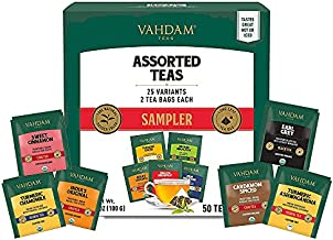 VAHDAM, Best Tea Assortments   25 Different Tea Bags   2 Servings Each   Variety Pack   Black Tea, Green Tea, Oolong Tea, Turmeric Tea, White Tea, Herbal Tea & Chai Tea - 50 Tea bags