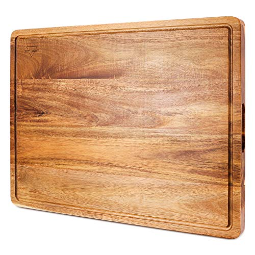 Cutting Board, SKY LIGHT Wood Chopping Boards for Kitchen with Deep Juice Groove, Organic Acacia Butcher Block for Meat and Vegetable, Wooden Carving Board with Grip Handles - Extra Extra Large