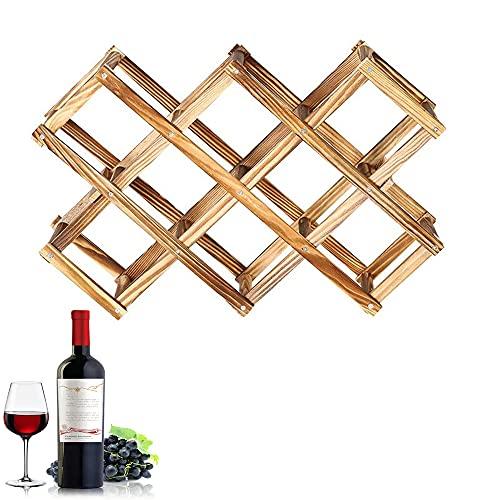 Portabottiglie per Bottiglie di Vino, Cantinetta per Vino in Legno, Portabottiglie Vino Pieghevole, Ripiano Portabottiglie in Legno a 3 Strati, per Conservare il Vino, vernice Gassata