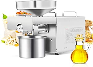 CGOLDENWALL 1500W Commercial Automatic Oil Press Machine Industrial heavy type Physical pressing machine Nuts Seeds Oil Presser Pressing Machine Cold Hot Press All Stainless Steel CE (110V)