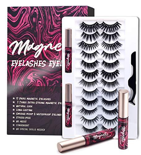 Magnetische Wimpern mit Eyeliner, 3D magnetic lashes (Natürlich) Magnetischer Eyeliner (Extra starker Halt) Wiederverwendbare Falsche Magnetic Eyelashes, Wasserdichtem Langlebigem - 12 Paare