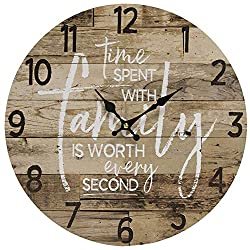 Round Farmhouse Wall Clock - 13 Inches – Decorative Wood Style Quartz Battery Operated Rustic Home Décor Vintage Decoration Retro Design, with Large Arabic Numbers