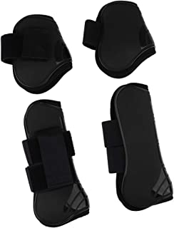 Horse Leg Boots Set of 4, Open Front Fetlock and Tendon Boots for Horses Pony - Impact-Absorbing and Breathable