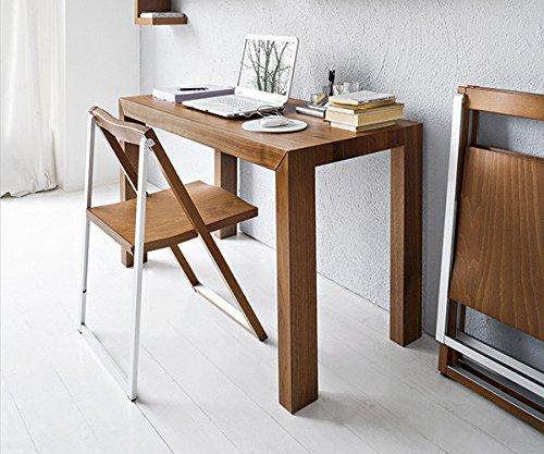 Calligaris SET 2 sedia SKIP CS/207per casa. Sedia Struttura in Metallo e Legno, pieghevole per casa, cucina e sala da pranzo (NOCE)