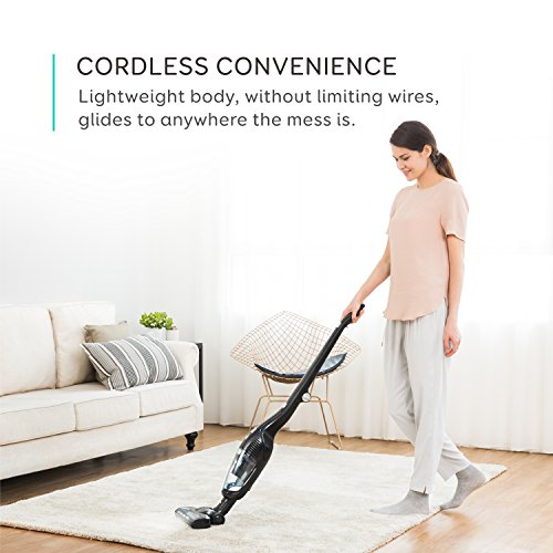 eufy HomeVac Duo 2-in-1 Cordless Vacuum Cleaner, Rechargeable Bagless Stick and Handheld Vacuum with Upright Charging Base - (Black)