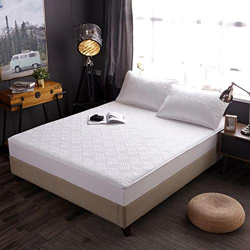 YFGY Fitted Sheet Shrinkage and Fade Resistant single,Pure Cotton Thermal Mattress Hotel Cover, Solid Color Plus Cotton Bedspread Non-Slip Protective Cover white 90 * 200cm
