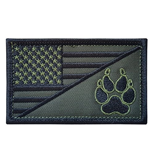 LEGEEON OD Green USA American Flag K-9 Dog Handler Morale Tactical Embroidery Hook-and-Loop Patch