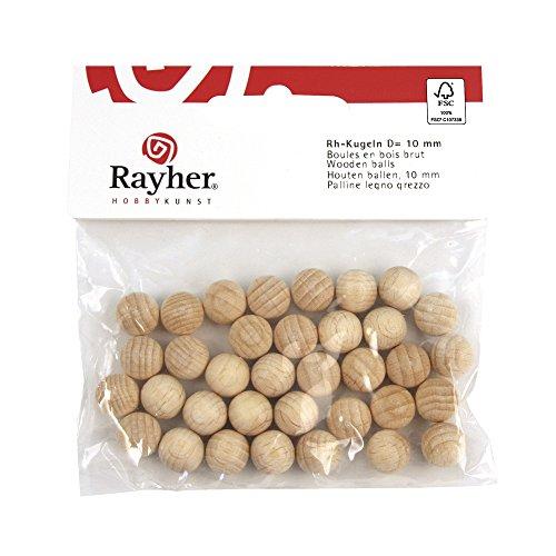 Rayher 6246100 - Bolas de Madera sin perforar (2 Unidades, FSC 100%, 45 mm de diámetro)