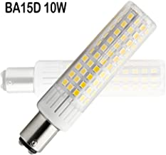Pack of 1 90-265V AC BA15D LED Light Bulb 10W=120W Ba15D Halogen Bulbs 360 Degree Angle CRI 90Ra Dimmable 1200Lumen Warm White 3000K
