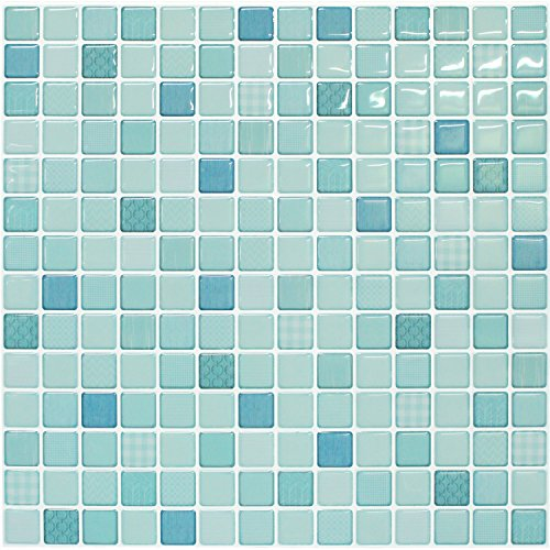【 Dream Sticker 】 モザイクタイルシール キッチン 洗面所 トイレの模様替えに最適のDIY 壁紙デコレーション BST-7 ミントモロッカン Mint morrocan 【 自作アートインテリア/ウォールステッカー 】 貼り方説明書付属 (1枚)