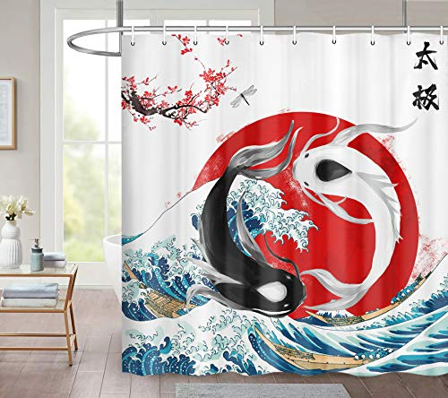 JAWO Funny Big Wave Duschvorhang, zwei Goldfische Koi Fisch Blatt in Blau Great Sea Wave Surf Wasserdicht Stoff Badezimmer Dekor Duschvorhang Set mit 12 Haken